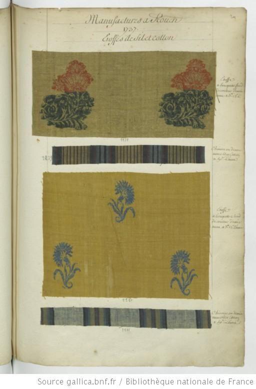 * Manufactures à Rouen // 1737 - Echantillons d'étoffes et de rubans recueillis…