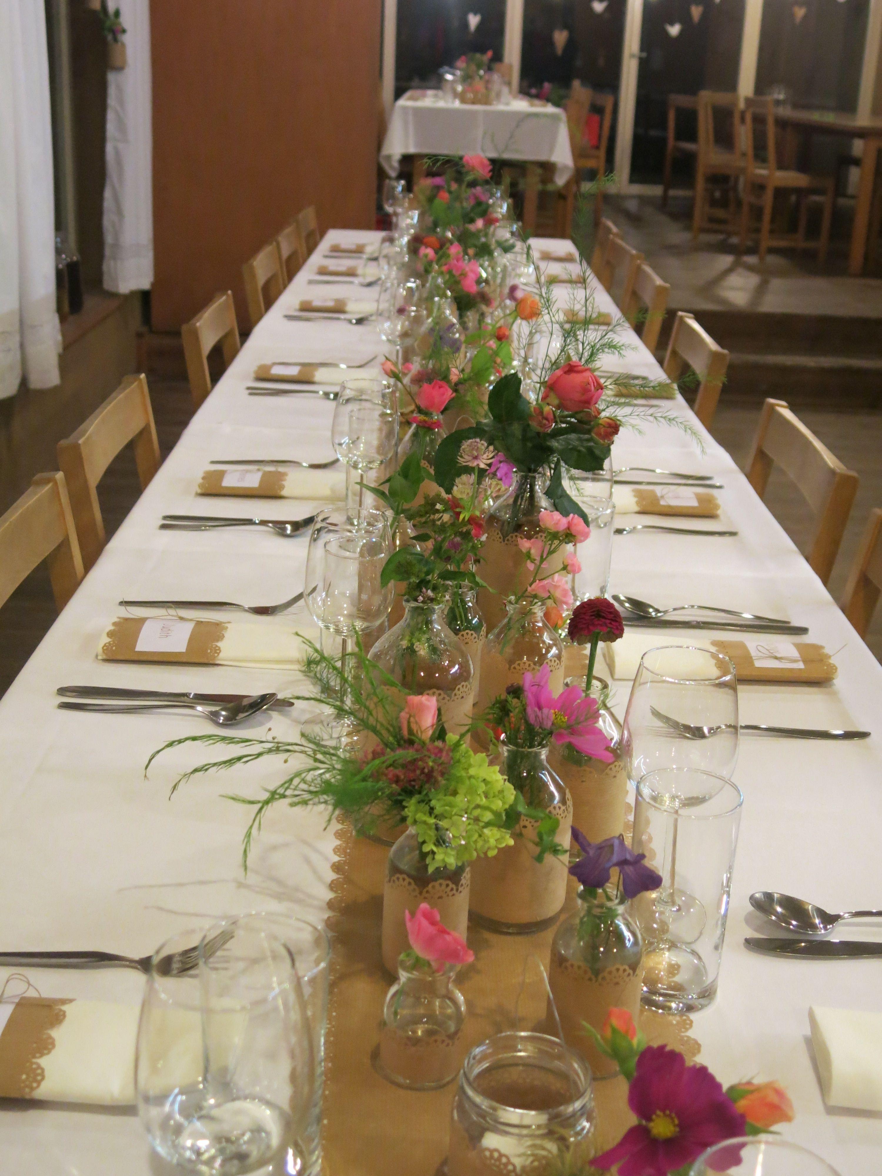tischdeko DIY kraftpapier wiesenblumen  Deko Geburtstag