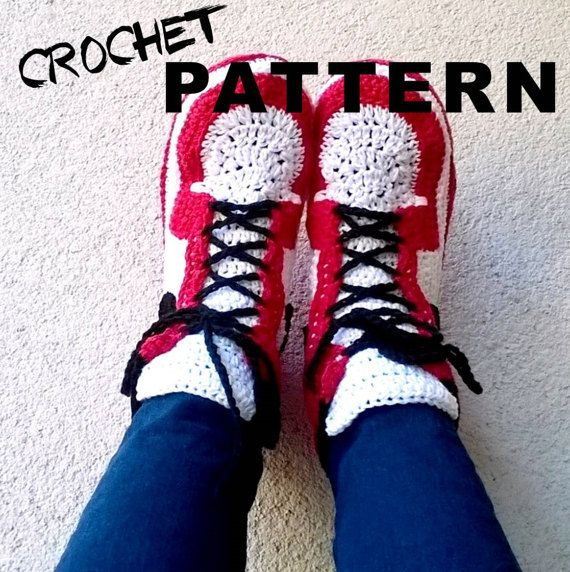 Crochet PATTERN. Air Jordans style slippers Adult sizes | Zapatos