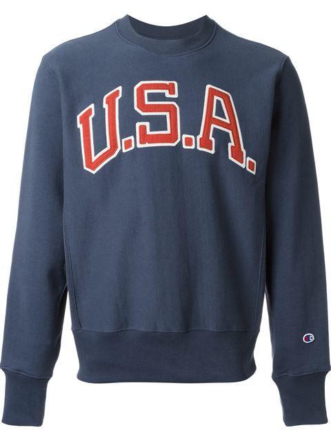 cd131096abc53 Champion Embroidered Usa Patch Sweatshirt - Penelope - Farfetch.com ...