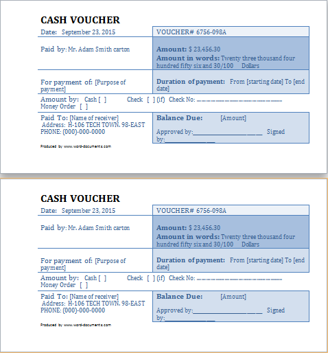 Cash Voucher Template At WordDocumentsCom  Microsoft Templates