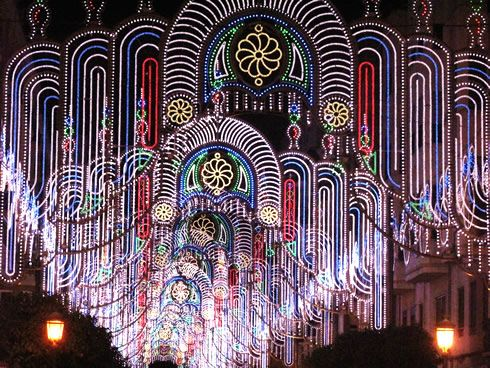 Las Fallas festival in Valencia Spain.  The neighborhoods have competitions in decorating with lights