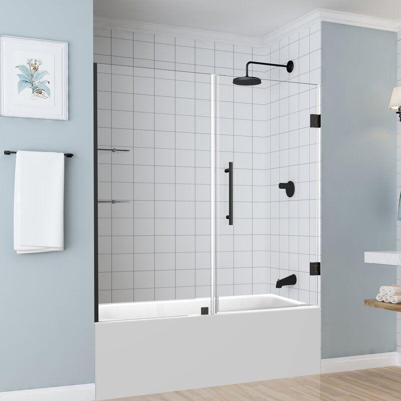 Coraline 60 X 60 Single Sliding Frameless Tub Door In 2020 Tub Shower Doors Tub Doors Glass Tub