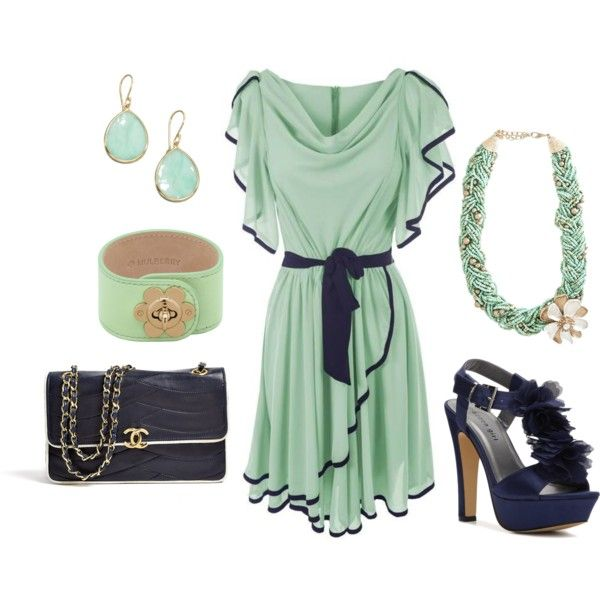 """""""mint and dark blue"""" by heike-muller on Polyvore"""