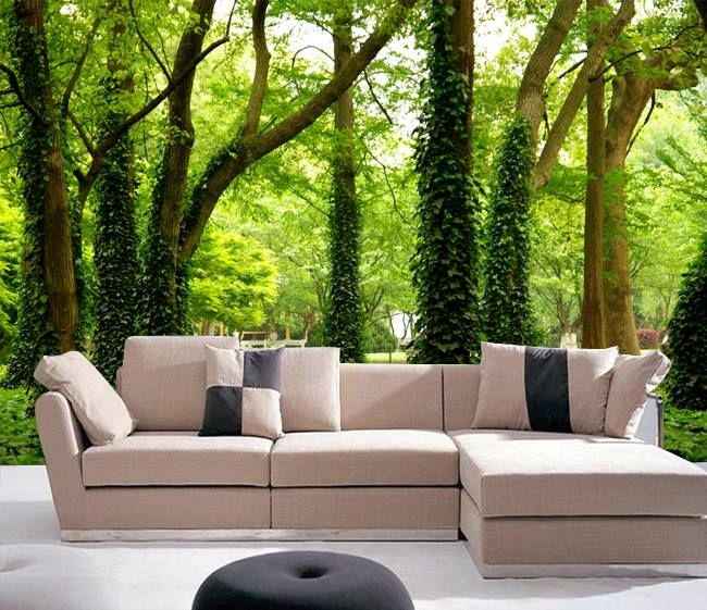 Custom Photo Luxuriant Big Green Tree Grows In The Forest Design Wallpaper  Mural Use For Sofa Background Wall Paper