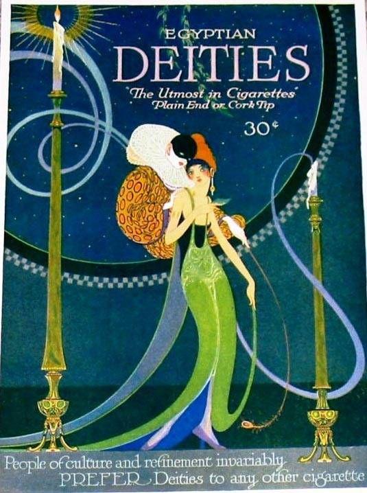 Galería de ilustraciones y carteles publicitarios de marcas de tabaco y cigarrillos diseñados en el S.XX. Diseños evocadores de otros tiempos y otra publicidad.