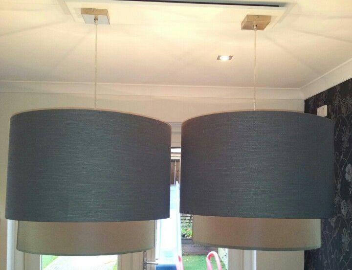grote dubbele lampenkappen eettafel door mij gemaakte lampen