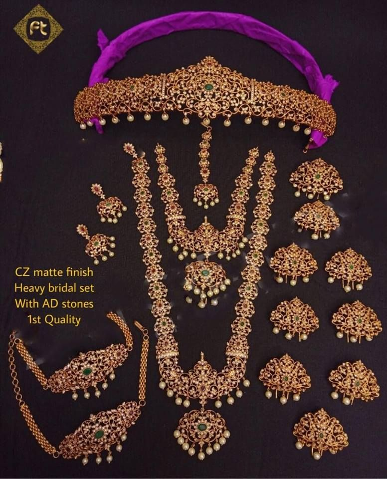We Rent Out Cz Matte Finish Heavy Bridal Set With Adstones In Very Reasonable Price Unique Bridal Jewelry Necklace Set Indian Bridal Jewelry Bridal Jewelry