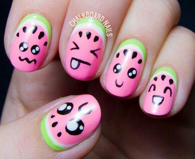 Kawaii watermelons!   january nails   Pinterest   Kawaii, Kid nails ...