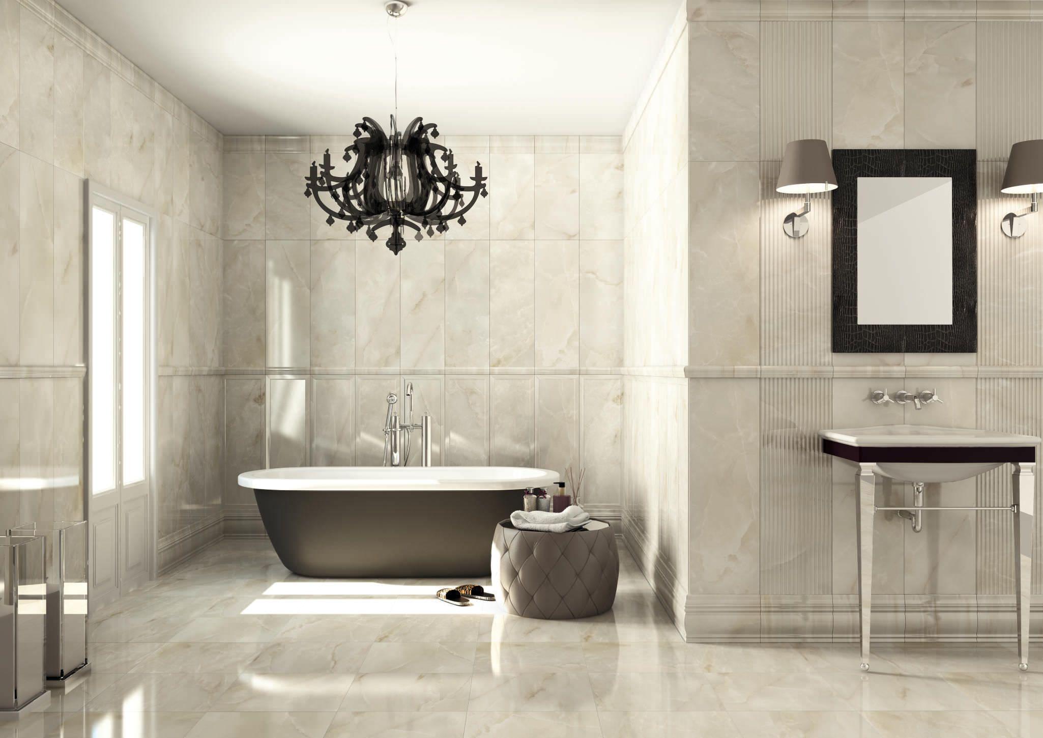 Good Looking White Mosaic Gloss Granite Bathroom Floor Tile Ideas And Free Standing Bath Under Modernes Badezimmer Modernes Badezimmerdesign Badezimmer Gunstig