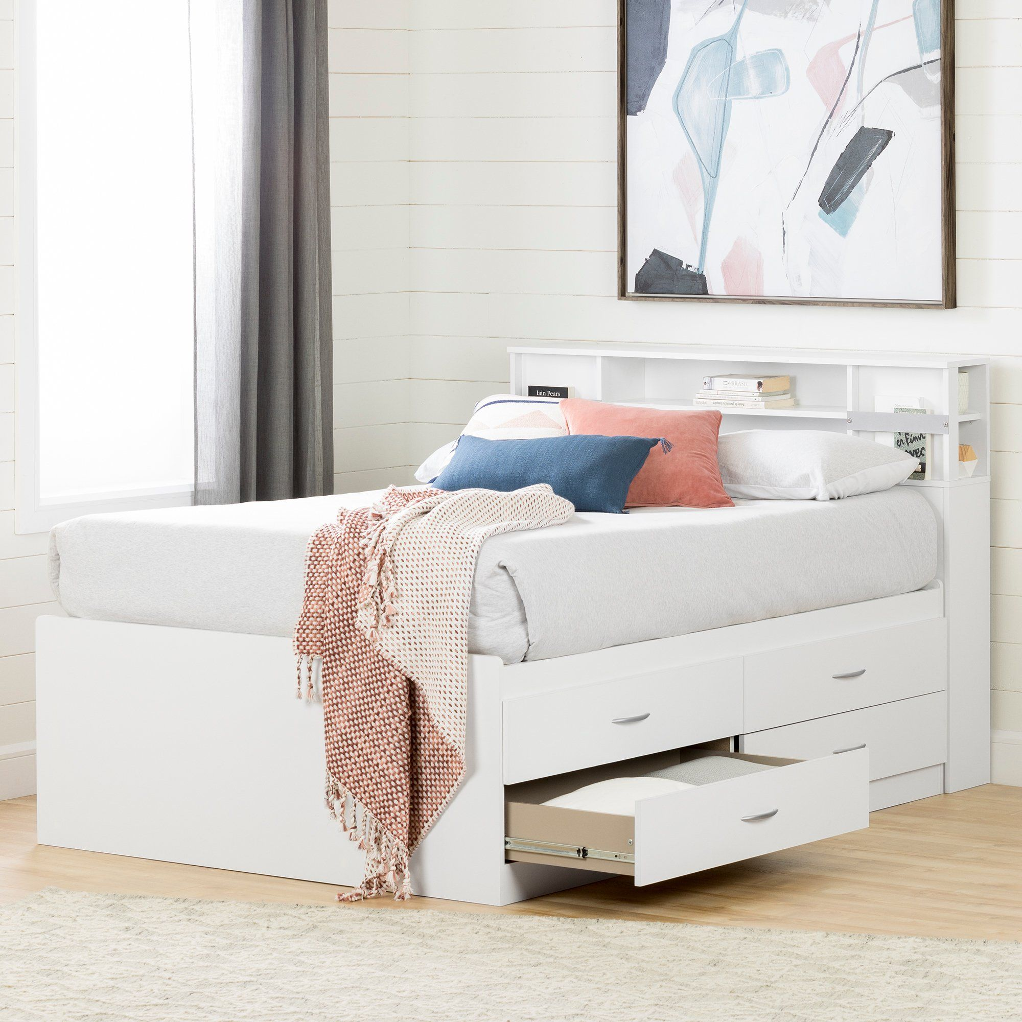 White Captain Full Size Storage Bed with 4 Drawers Step