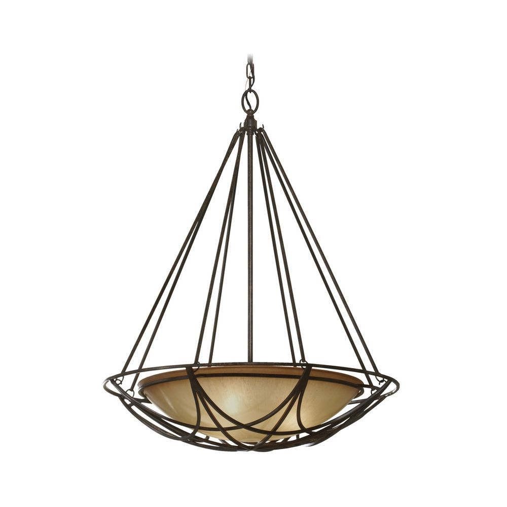 Bowl Pendant Light In Bronze Finish With Ivory Gl At Destination Lighting