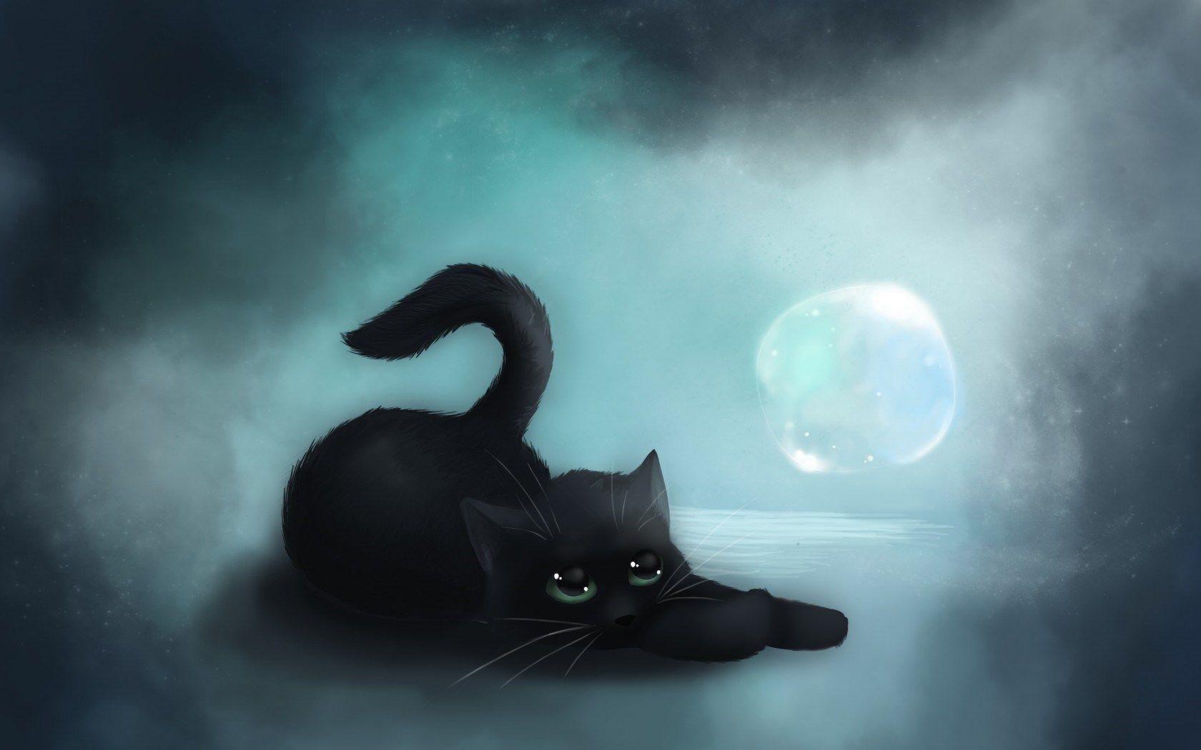 Artwork Black Kitten Hd Wallpaper Omwallpapers Black Cat Art Cat Wallpaper Cat Art