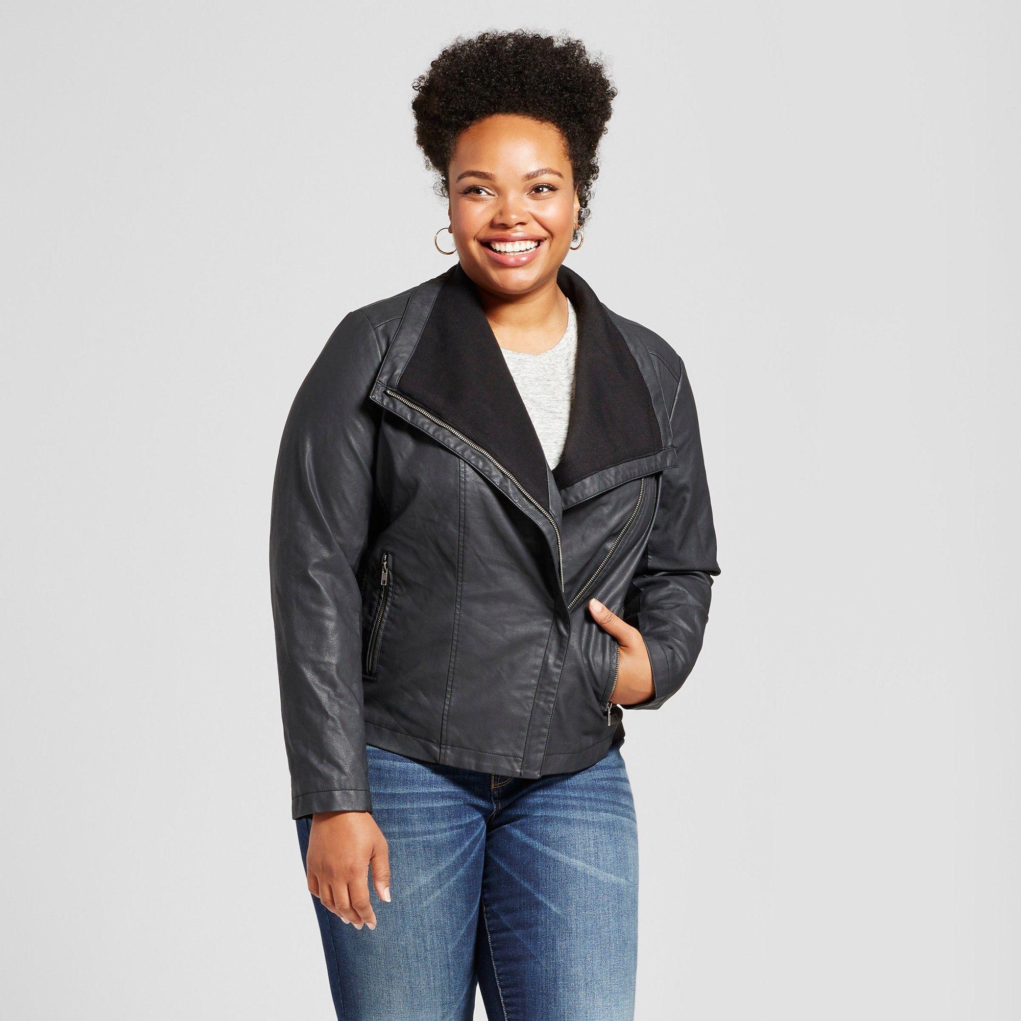 2c01748351a00 Plus Size Women s Plus Rib Knit Faux Leather Jacket - Ava   Viv Black 1X