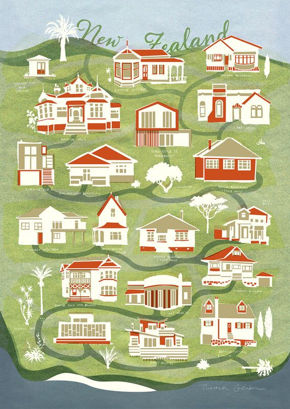 New Zealand Map of houses, Fine Art Print, beautiful ... on