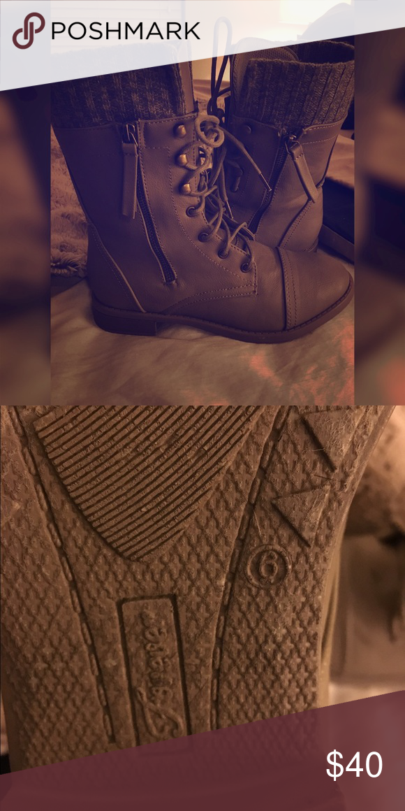 Combat Boots (READ DESCRIPTION!) Gray/Tan Combat Boots. Only worn once! Like Brand New. Tilly's Shoes Combat & Moto Boots
