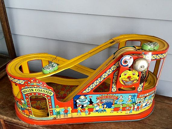 Carnival Toy Box Pink: Vintage J. Chein Roller Coaster Tin Wind-Up Toy With Cars