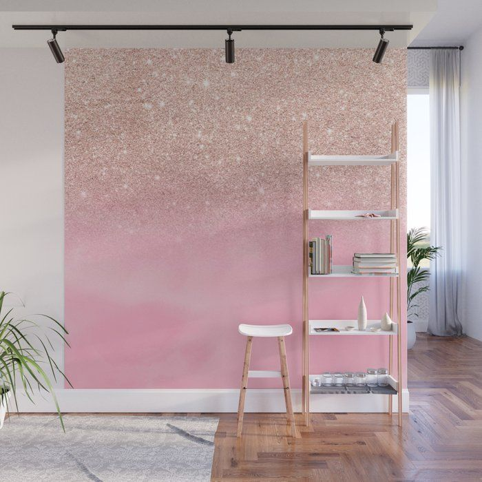 Modern Rose Gold Glitter Ombre Hand Painted Pink Watercolor Wall Mural By Girlytrend Society6 In 2020 Glitter Paint For Walls Glitter Wall Glitter Accent Wall