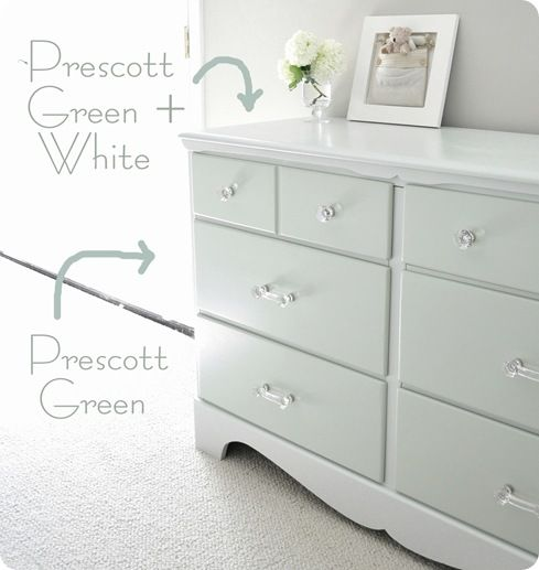 Top  sides  and frame are  Prescott Green  cut in half with white paint to  give a subtle two tone look  like this idea. Drawers are Benjamin Moore  Prescott Green   Top  sides  and frame
