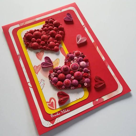 Amore and Valentine's One Of A Kind Quilling Two Red Heart Card - Quilled Heart Card - Love Day Card - 3D Quilling Card - New Dad Heart Card