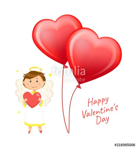 Heart-shaped balloons and angel with wings and halo vector. Valentines day greeting card, love holiday celebration, boy cupid in white dress, cherub , #Sponsored, #vector, #halo, #day, #Valentines, #wings #Ad