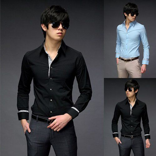 Mens Black Shirts Men Luxury Shirt Men Dress Clothing Fashion ...