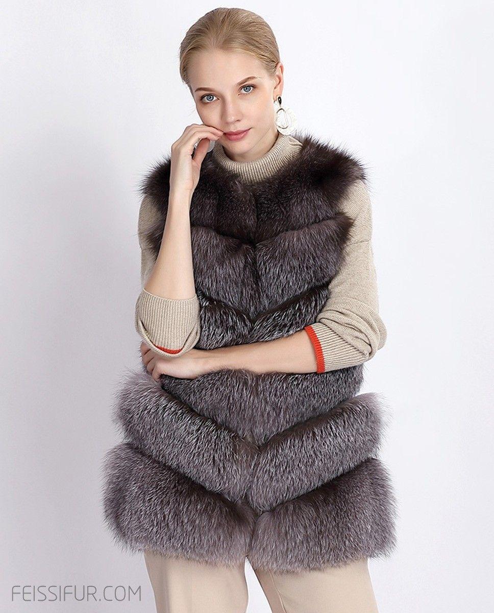 Real Fur Coat & Jacket Silver Blue Fox Fur Vest 377