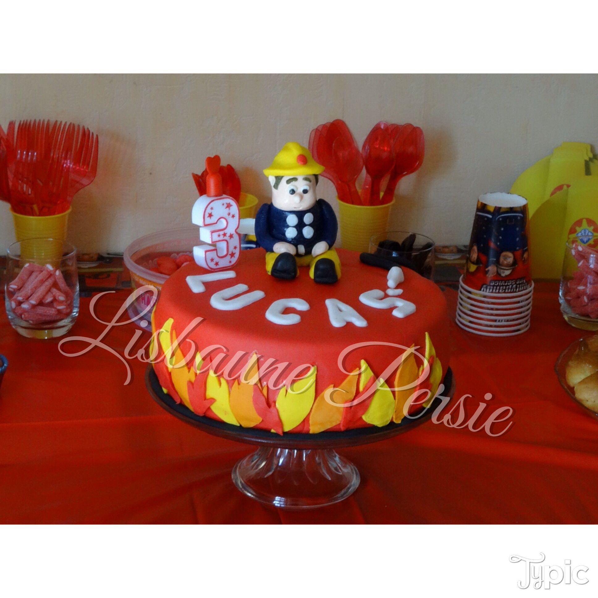 Lucas 3rd birthday cake fireman sam party g teau d - Decoration anniversaire sam le pompier ...