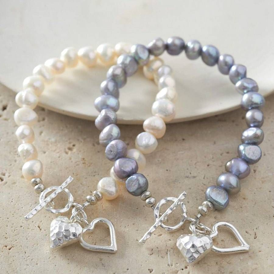silver heart bracelet with freshwater pearls by kathy jobson | notonthehighstreet.com