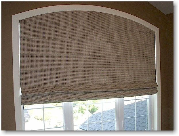 Another eyebrow archtop window with a custom Roman shade. | Roman ...