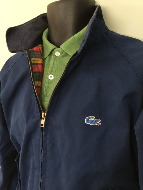 a2e5fd0f1 Vintage 80 s Izod Lacoste Harrington jacket fully lined plaid lining blue  alligator MOD