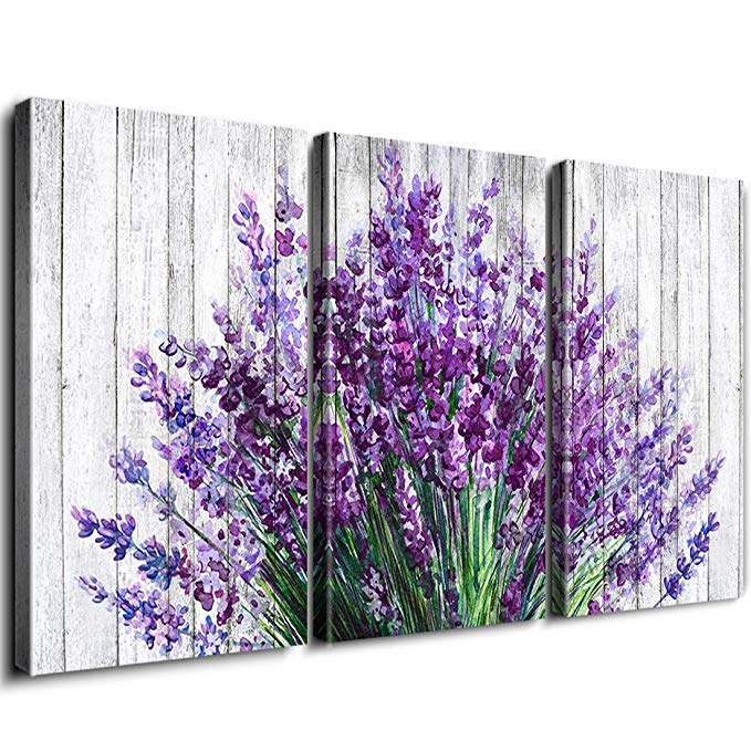 Amazon Com Rustic Home Decor Canvas Wall Art Retro Style Purple Lavender Flowers Picture On White Vintage Woo Purple Wall Decor Lavender Walls Flower Wall Art
