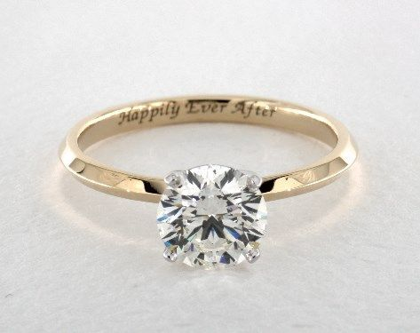 09bfd9673d8 14K Yellow Gold 2mm Knife Edge Solitaire Engagement Ring. Check out the  engraving on the ring.  3