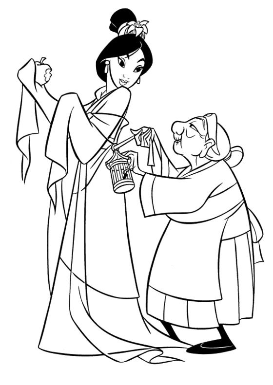 Princess Mulan And Grandmother Coloring Pages | Coloring Pages ...