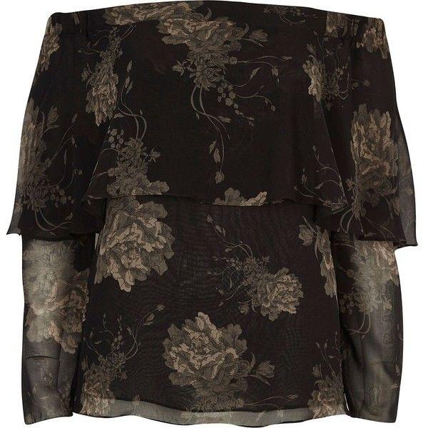 1b6ffe93e3b River Island Black floral print deep frill bardot top ($39) ❤ liked on  Polyvore featuring tops, bardot / cold shoulder tops, black, women, open  shoulder ...