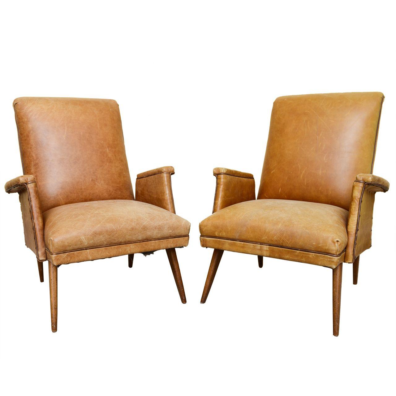 1stdibs   Mid Century Modern Leather Armchairs