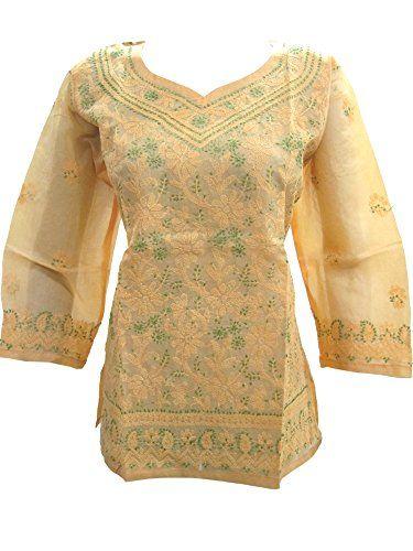 Indian Kurta Tunic Top Floral Embroidered Yellow Boho Cotton Blouse M Sz Mogul Interior http://www.amazon.com/dp/B00WM6TTBQ/ref=cm_sw_r_pi_dp_lEhxvb14C123G