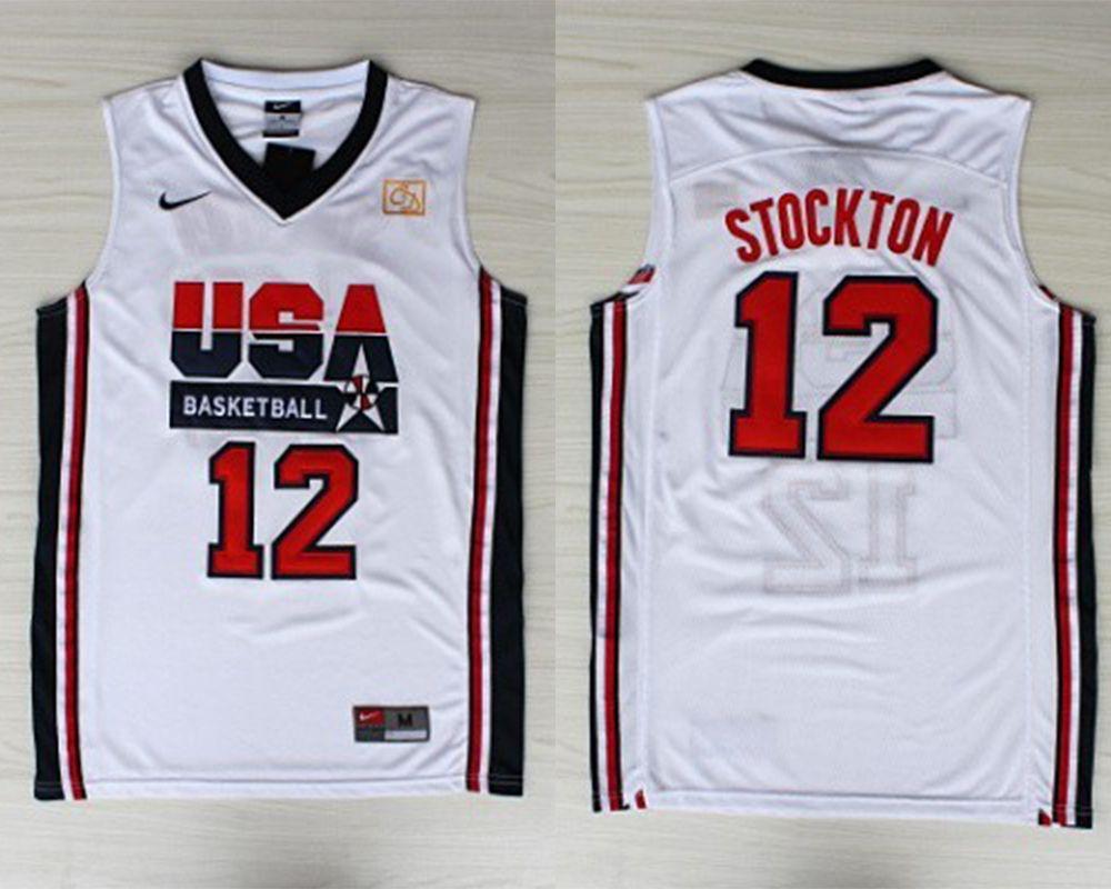 John Stockton 1992 Team USA white basketball jersey