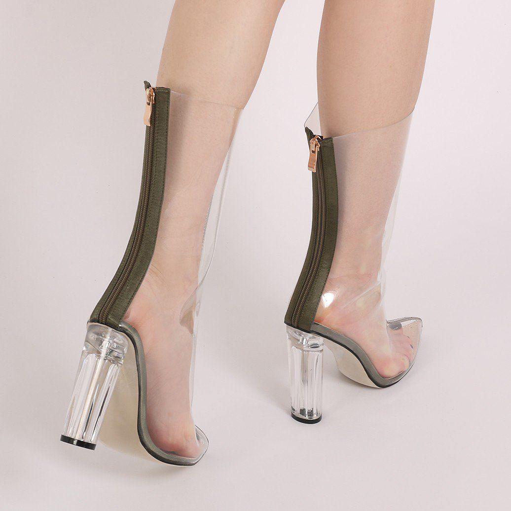 ea92e841ba1 Briella Perspex Heel Boots in Khaki Satin