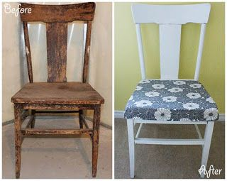 Grey and White Refurbished Chair | www.ofhousesandtrees.com