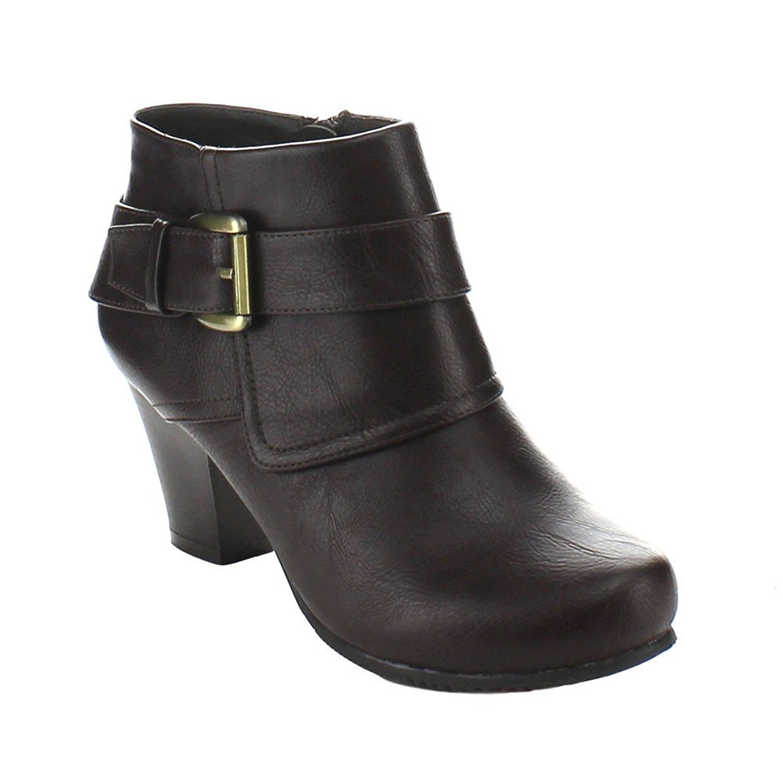 Dara-1 Women's round toe chunky heel ankle buckle strap side zip booties