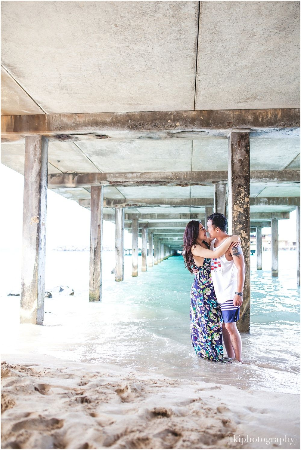 Under the Pier at Makapuu. Engagement in Hawaii. Cruising around the island!