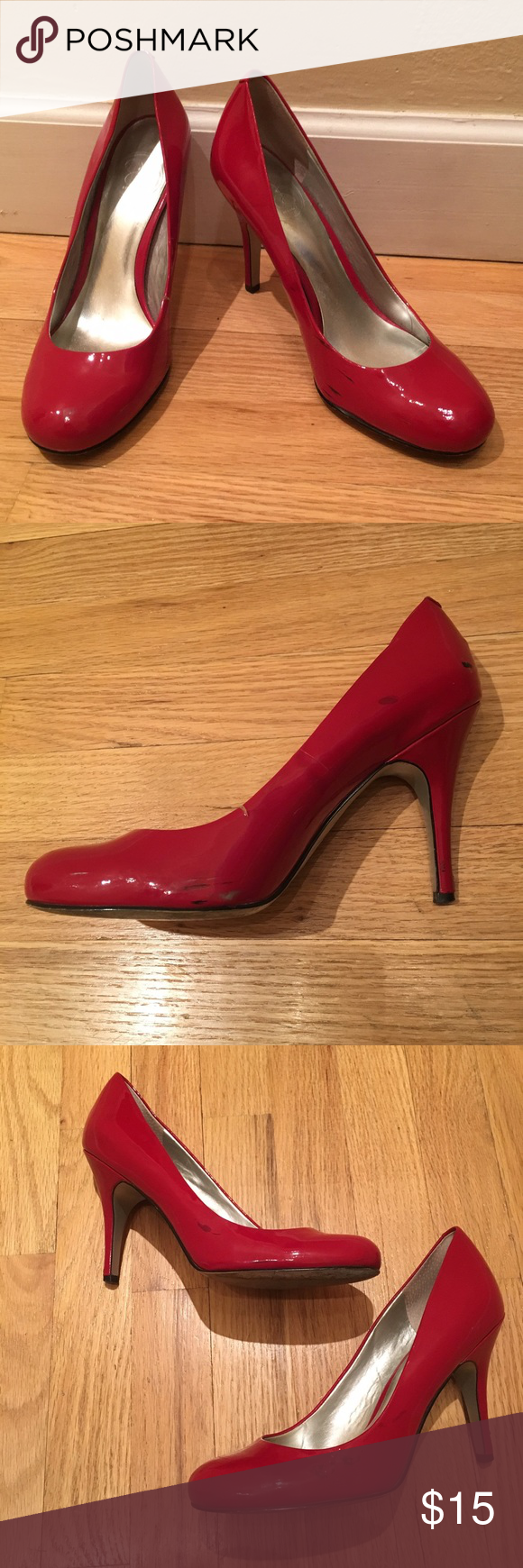 """Jessica Simpson red heels Red pumps. Heel height is 4"""". There is a small tear on one shoe and both have black marks throughout from wear. Some wear on heels as well. Price reflects damage. Offers welcome! Jessica Simpson Shoes Heels"""