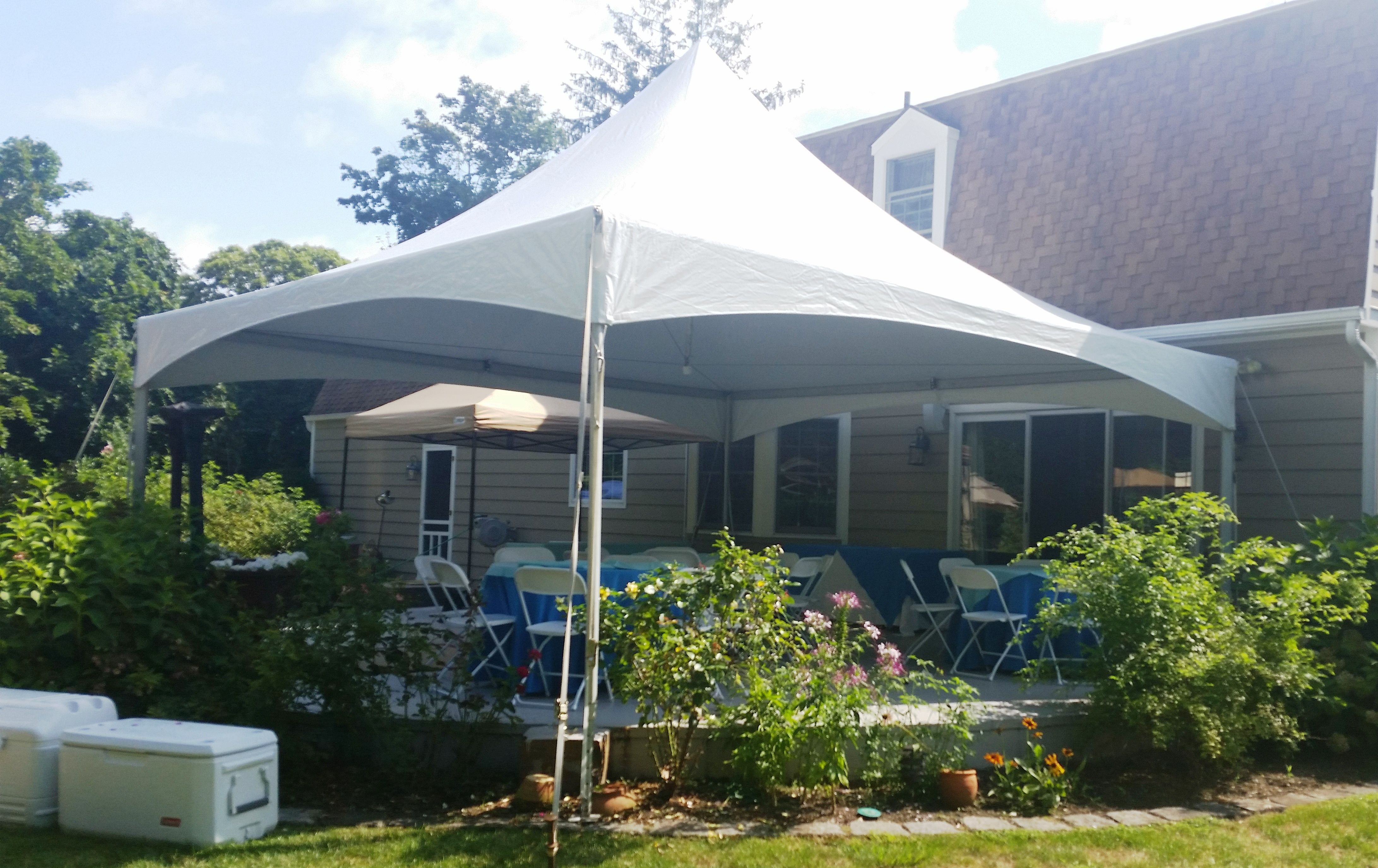 20 X 20 High Peak Tent Over A Cement Patio Patio Tent Bounce House