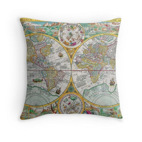 Map decor map of the world antique maps antique map cushion map decor map of the world antique maps antique map cushion retro throw pillow world map cushion world map pillow vintage decor gumiabroncs Choice Image