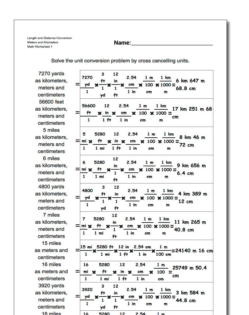 Unit conversion worksheets for converting customary lengths to ...