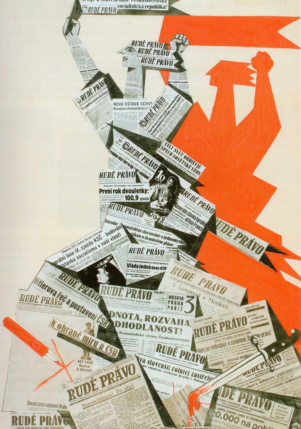 Communist propaganda poster designed in the 1950s by Adolf Hoffmeister, member of the Czech avant-garde and a prominent member of the Czechoslovak Communist Party.
