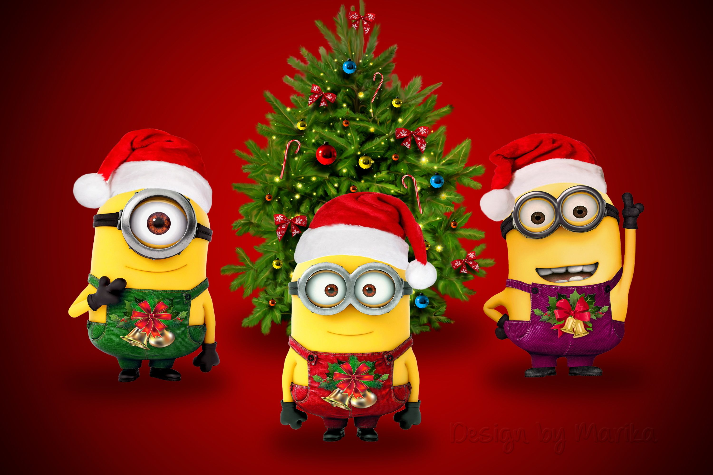 Christmas Minions Wallpaper Christmas Minion Santa New Year