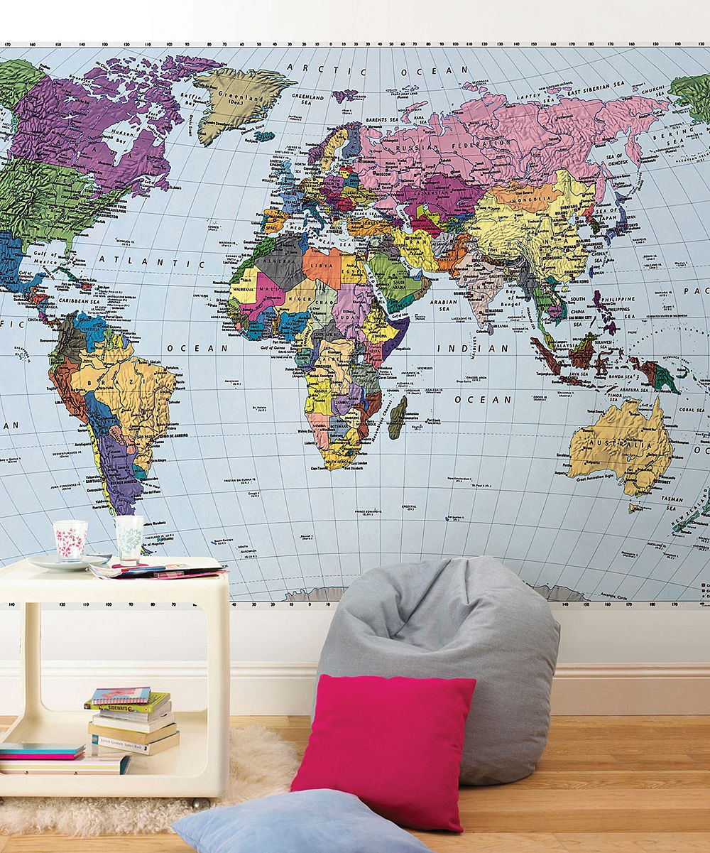 Small world map mural decor and design pinterest room kids selection of map wall murals and wallpaper maps world map murals for homes and businesses classroom map murals are a valuable classroom resource for gumiabroncs Choice Image