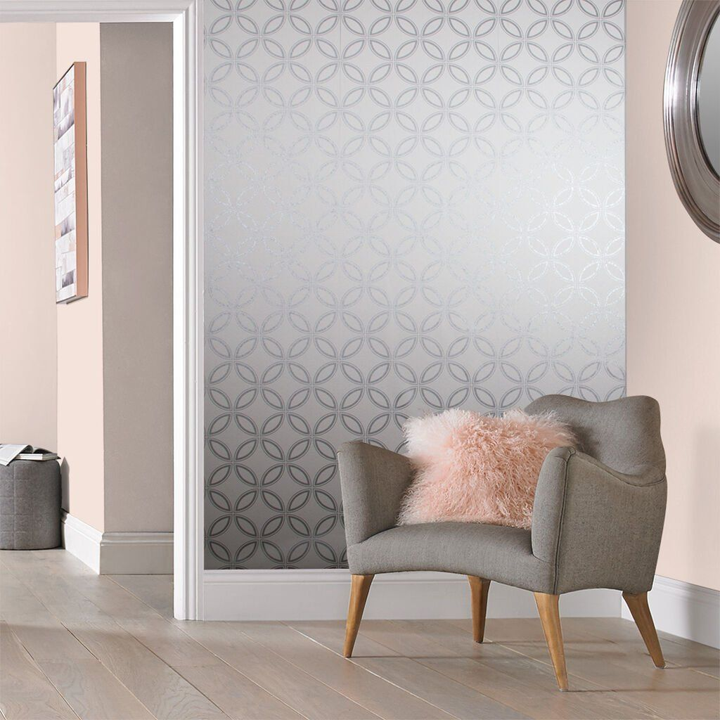 Eternity White and Silver Wallpaper GrahamBrownCA